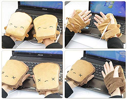 USB Hand Warmers, Cute USB Heated Gloves, Half Wearable 5V USB Powered Toast Fingerless Hand Warmer for Children/Women/Men Winter Fashion Gift