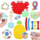 BASEIN Sensory Fidget Toys Set, Fidget Toys 19 Pack Relieves Stress Anxiety Sensory Toys for Kids Adults, Stress Relief Toys for Focus & Calm Perfect for ADHD Anxiety Autism