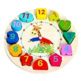 WISHKEY Wooden Learning Clock with Bead Lace , Educational Digital Analog Numbers, Shape