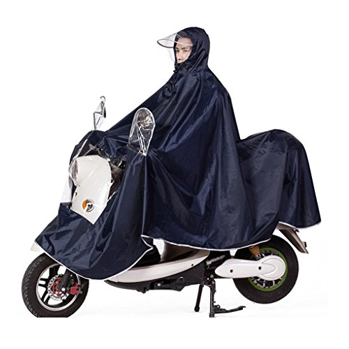 Fakeface Extra Large Lengthen Windproof Waterproof Motorcycle Scooter Rain Hoodie Coat Women Men Big Raincoat Cover Cape Poncho Rainwear Full Protection with Visor and Storage Bag