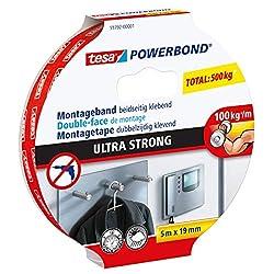 tesa 55792-00001-00 TE55792-00002-01 Powerbond Ultra-Fuerte, 5m x 19mm mancheta, Standard