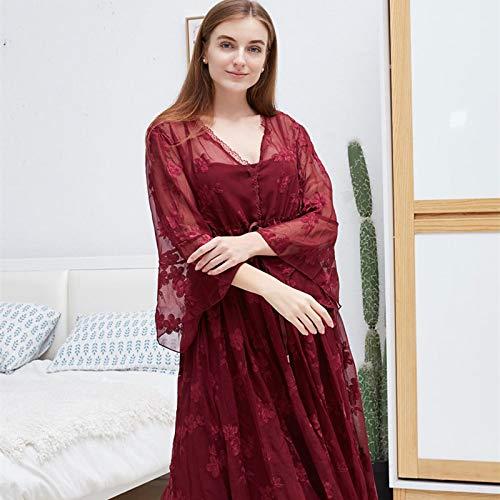 STJDM Pyjama,Spitze langes Nachthemd rot romantische Nachtwäsche Herbst Sommer Nacht Frauen Vintage Schlaf Home Wear Kleid OneSize rot