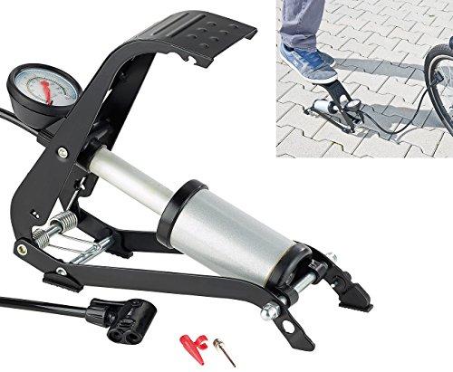 AGT Fahrrad Luftpumpen: Stabile Fußluftpumpe mit Stahlzylinder und Adapterset (Velopumpen)