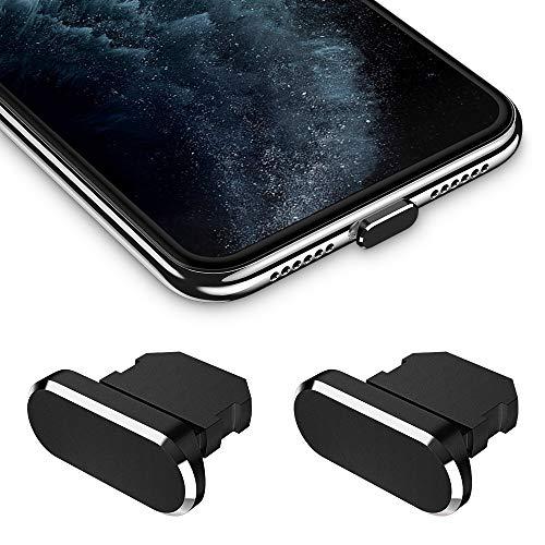 iMangoo Staubschutz Stöpsel kompatibel mit iPhone 11/11 Pro Max/SE/XR/X/8 Plus/8/7, Staub Stecker 2 Pack mit Tragetasche Silikon-Clip Staubstecker Schutz Laden Anschluss für iPad Air Mini Pro Schwarz