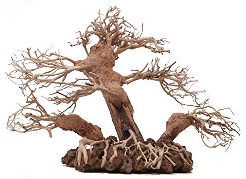 Bonsai Driftwood Aquarium Tree ALM (7 Inch Height x 11 Inch Length) Natural, Handcrafted Fish Tank Decoration | Helps Balance Water pH Levels, Stabilizes Environments | Easy to Install