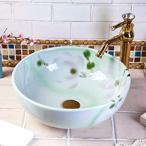 Nologo Europa Vintage Style Ceramic Art Bassin-Wannen-Zähler Top Waschbecken Badezimmer Waschbecken Waschbecken Hand bemalt Waschbecken ohne Hahn