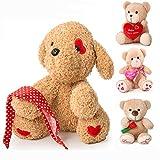 12' Valentine's Day Valentines Gift for Girlfriend, Boyfriend, Plush Stuffed Animal (Eyes with red Heart)