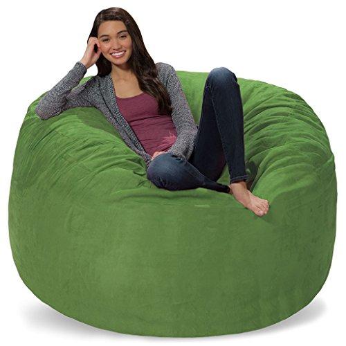 Comfy Sacks 5 ft Memory Foam Bean Bag Chair, Lime Micro Suede