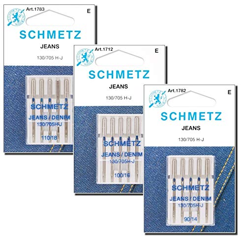 Denim Needle for Sewing Machine Variety Pack, (Sizes 90/14, 100/16, and 110/18), Perfect for Jeans, Denim, Canva, and Other Deeply Woven Fabric, Compatible with Most Home Machine by Apartment ABC
