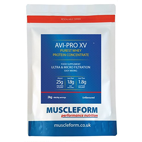 Muscleform AVI-PRO XV Whey Protein Concentrate 83% 2kg Re-Sealable Pouch - Fast Delivery - Unflavoured | Free Express Delivery