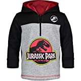 Jurassic Park Dinosaur Little Boys' Fleece Hoodie Pullover Sweatshirt w Zipper (Black/Grey, 5)