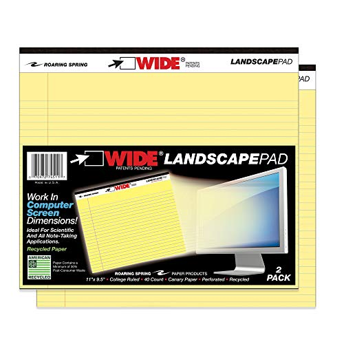 Roaring Spring Wide College Ruled Landscape Legal Pad, 2 Pack, 11' x 9.5' 40 Sheets, Canary