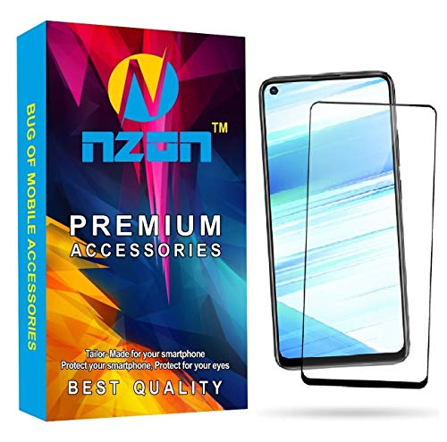 nzon 2.5D Curve Anti Fingerprint 0.33 mm Full Glue 11D Edge to Edge Tempered Glass Screen Protector Compatible for Vivo Y30 (Black)