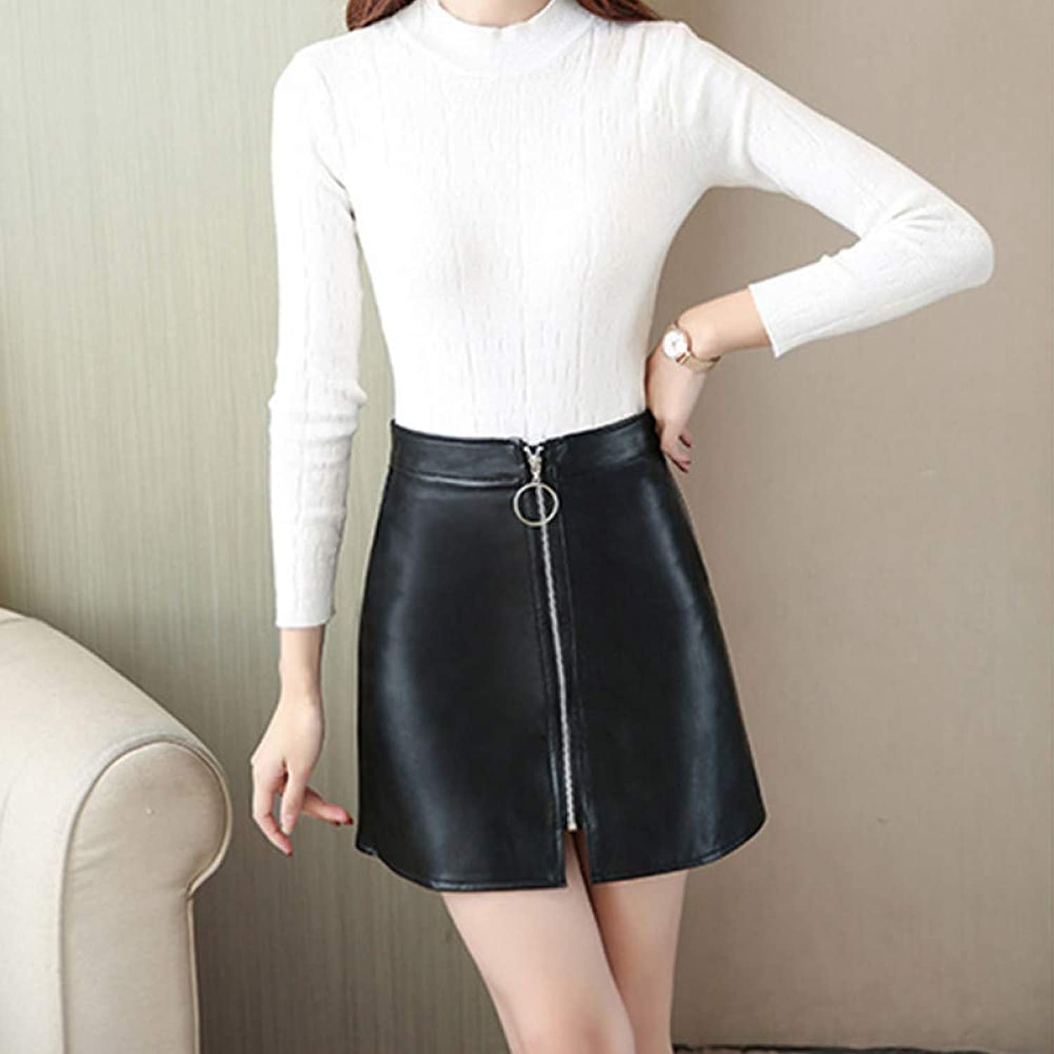 DAHDXD Spring Summer Casual Solid Pu Leather Skirt Women High Waist Mini ALine Skirt Lady Black Short Skinny Skirts