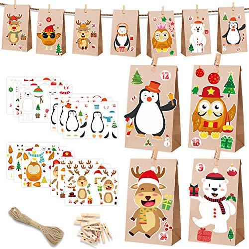 HAIGOU DIY Adventskalender zum Befüllen 24 Tüten zum individuellen Gestalten und zum selber Füllen Weihnachtskalender DIY Bastelset