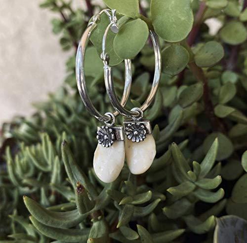 Sterling Silver Elk Tooth Southwest Flower Blossom Hoop Earrings. Elk Teeth. Made in the heart of New Mexico.