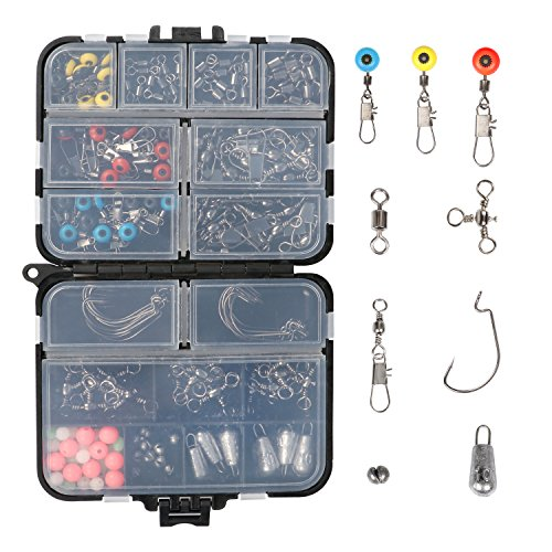 RUNCL Fishing Terminal Tackle, Fishing Tackle Box with Barrel Swivels, Safety Snaps, Off Set Hooks, Fishing Weights, Fishing Beads and Swivel Slides for Saltwater (Pack of 170)