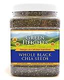 Semillas de chía negra entera - 24 onzas / 680 gramos de vidrio (más de 48 porciones) - Orgullosamente hecho en Estados Unidos - Nutrientes saludables de Green Heights