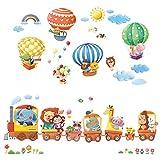 DECOWALL DL-1406L Tren con animales y globos aerostáticos adhesivos de pared, decoración de pared, adhesivos murales, salón, guardería, dormitorio para niños (extra grande)