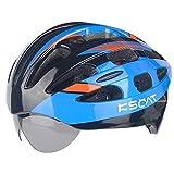 KSCAT Adult Bluetooth Smart Helmet Bone Conduction Helmet Adjustable Road Cycling Mountain Helmet with Mircophone,Goggle T01 Red/Blue/Yellow (Blue)