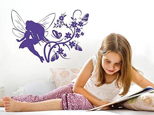 GRAZDesign Geburtstagsgeschenk für Mädchen Feen und Elfen - Babyzimmer-Dekoration Schmetterlinge - Wandtattoo Kinderzimmer Mädchen Elfenaufkleber / 73x50cm / 822 Water Lilly