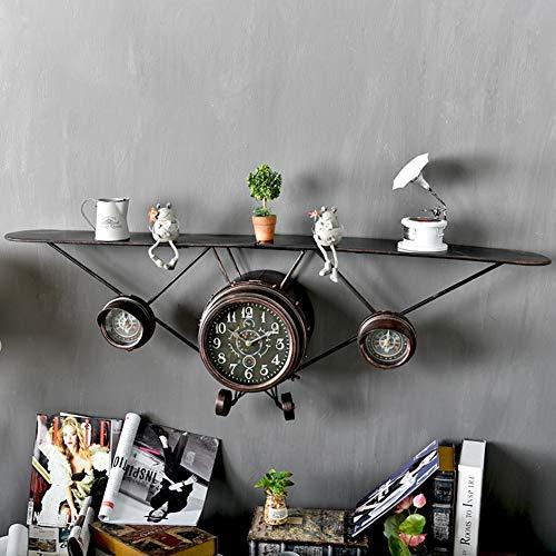 Vintage creatieve ijzer vliegtuigen muur opknoping vliegtuigen muur klok metalen vliegtuigen muur plank metalen muur opknoping Decor opslag plank 124x40cm messing