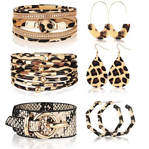 Hicarer 6 Stück Leoparden Schlangenhaut Druck Leder Manschette Armbänder und Leoparden Creolen Baumeln Ohrringe
