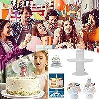 2 in1サプライズポッピングケーキスタンド、 サプライズケーキ、 プルリングサプライズ、 ケーキポップメーカー、 クリエイティブポップアップギフトケーキアクセサリー、 子供の誕生日ラウンドケーキホルダー結婚披露宴の装飾 (8in)