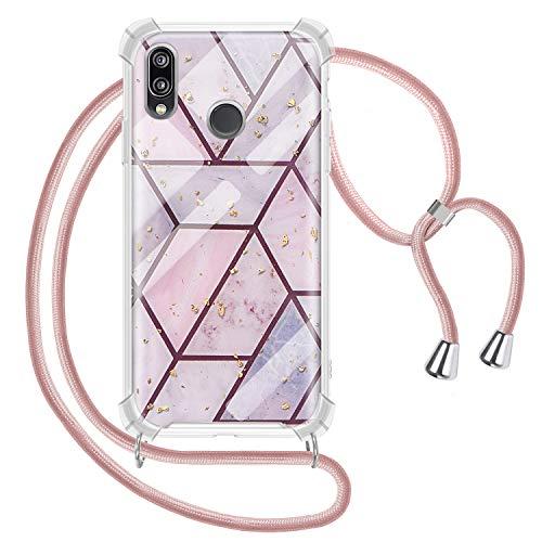Solaxi-EU Funda con Cuerda para Huawei P20 Lite, Mármol Carcasa Brillante Ultrafina TPU Suave Silicona con Colgante Ajustable Collar Correa Anti-Choque Anti-rasguños, Oro Rosa