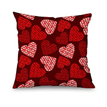 Toobaso Valentine s Day Red Rose Pillow Covers 18x18 inch Home Decor Wedding Anniversary Indoor Throw Pillows Decorative Cushion Cases for Living Room Sofa