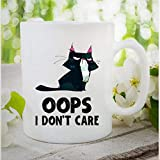 N\A Tazza di caffè, Oops I Don 'T Care Mug Gatto brontolio Tazza Divertente caffè in Ceramica Tazza da tè Regalo per Amico Amante della Famiglia collega