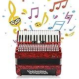 34キーアコーディオン 48ベースハンドピアノアコーディオン 大人の初心者アコーディオン楽器 ストラップ付き楽器クリーニングクロスバッグ