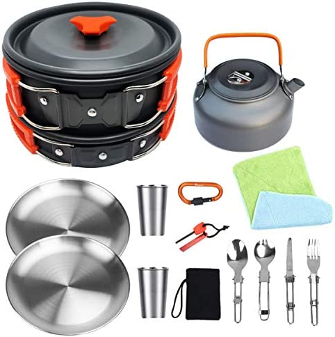 Bisgear Camping Cookware 18 8 Plates Outdoor Stove Kettle Pot Pan Mess Kit Stainless Steel Cup product image