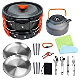 Bisgear Camping Cookware 18/8 Plates Outdoor Stove Kettle Pot Pan Mess Kit Stainless Steel Cup Utensil Backpacking Gear Bug Out Bag Cooking Picnic Cookset for 2 Person