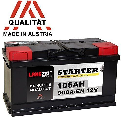 LANGZEIT Autobatterie 12V 105AH ersetzt 88Ah 90Ah 92Ah 95Ah 100Ah Starter Batterie