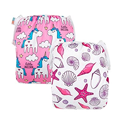 ALVABABY Swim Diapers Large Size 2pcs Reuseable Washable & Adjustable for Swimming Lesson & Baby Shower Gifts (Pink Seashell & Unicorns, ZYK44-D45)