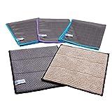 4Clean® Paños de microfibra absorbente de carbono de 4Clean®, paños multiusos sin rayas para cocina, coche, baño, ventanas (juego de 5 – 3 paños + 2 esponjas)