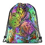 Lsjuee Art Abstract Rainbow Chaotic Fractal Pattern Background en Rosa Brillante, Mochila con cordón, Paquete de Bolsa de Entrenamiento, Cinch para Senderismo, Yoga, Gimnasio, natación, Viajes, Playa