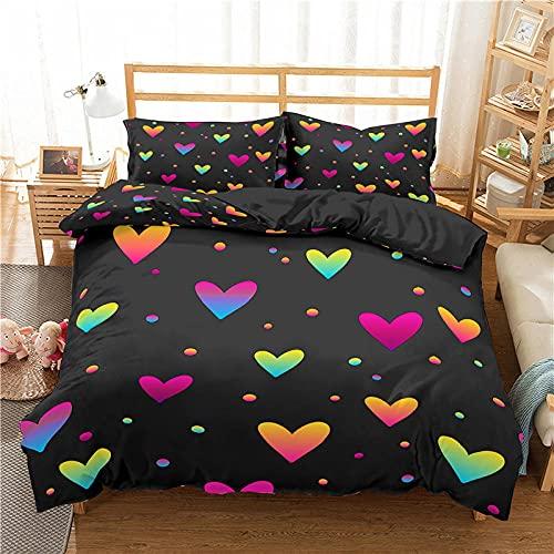 QDoodePoyer Juego de Funda de Edredón 260x240cm 3 Piezas Funda Nórdica Microfibra Juego de Cama Cremallera Funda de Almohada - Cama 260x240cm Negro Color Amor Graffiti