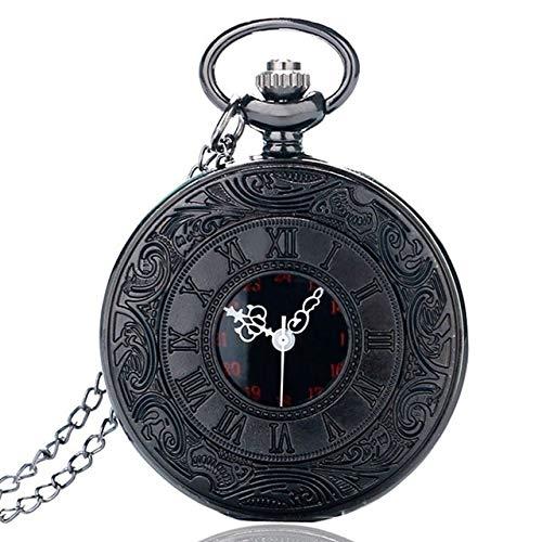 YYSD 5 unids/Set Vintage Negro Unisex números Romanos Cuarzo Punk Reloj de Bolsillo Collar Colgante Caja de Almacenamiento Conjunto de Joyas como Regalos de Recuerdo