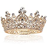 Yopay Gold Crowns, Full Round Diamond Crystal Bride Bridal Wedding Crowns and Tiaras Vintage Headband Hair Accessories for Women Birthday Prom Queen Pageant