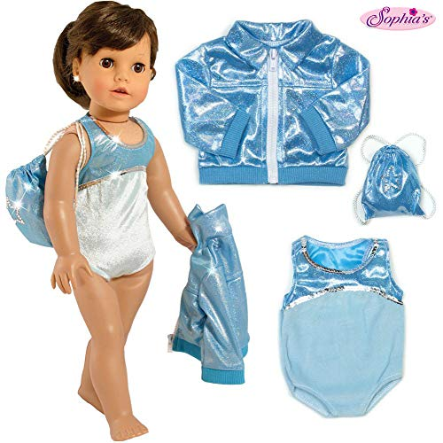 Sophia's 3 PC. Gymnastics Leotard, Jacket, and Bag, Doll Gymnastics Outfit, Doll Clothes for 18 Inch Dolls Like American Girl| Doll Sold Separately
