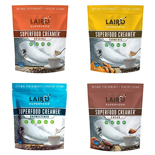 Laird Superfood Coffee Creamer Sampler Pack - Unsweetened, Original, Cacao, and Turmeric Flavored Powder Coconut Creamers, 8oz Bag (Pack of 4)