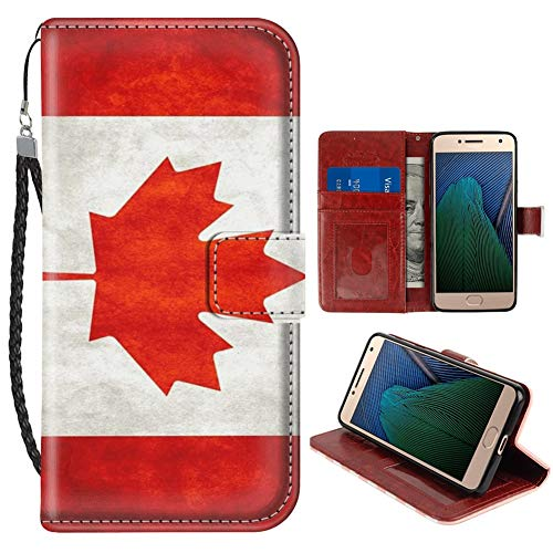 Wallet Case for Moto G5 Plus Canada Flag Phone Cover TPU Soft Edge Internal Case and PU Leather Outer Case with Card Slot Magnetic Buckle Flip Case