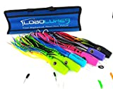 """Lobo Lures 6 Pack 14"""" #55 Typhoon Soft Head Billfish Teaser Combo Fully Rigged + Bag - Marlin Trolling Lures"""
