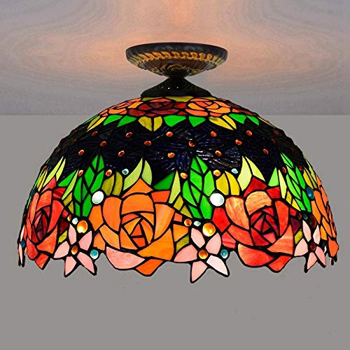 Plafondlamp 40 cm Pastorale Europese roze, Tiffany glas, gekleurd, restaurant, slaapkamer, hal, glazen plafondlamp