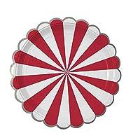 Meri Meri Red Fan Stripe Plates Large - Pack of 8 - Red Striped