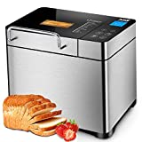 KBS Stainless Steel Bread Machine, 2LB 19-in-1 Programmable Bread Maker with Fruit Nut Dispenser,...