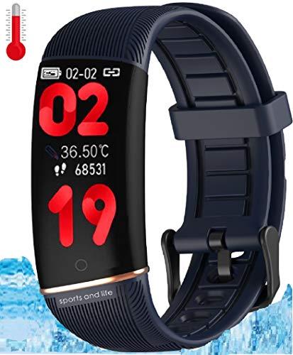 N3 ZELEK Oxímetro de Pulso Reloj Inteligente Temperatura Corporal Banda Inteligente Monitor de Presión Arterial Rastreador de Ejercicios Monitor de Frecuencia Cardíaca Rastreador de Actividad