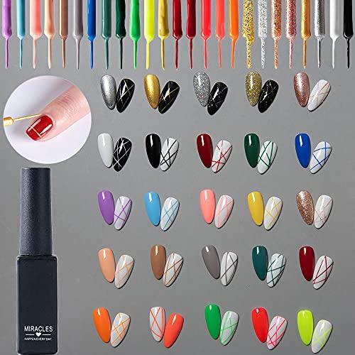 25pcs Gel de lápiz delineador Esmalte de uñas en gel para uñas, pintura dibujo, juego de esmalte de gel LED UV, herramienta de lápiz de línea para manicura Rosa Dorado Plateado Negro Blanco Desnud